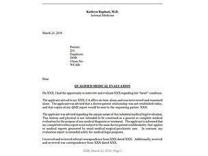 Kathryn Raphael M.D. | SAMPLE EVALUATION REPORTS