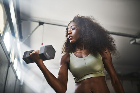 fit african american woman working out b