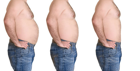 Male body before and after weightloss on