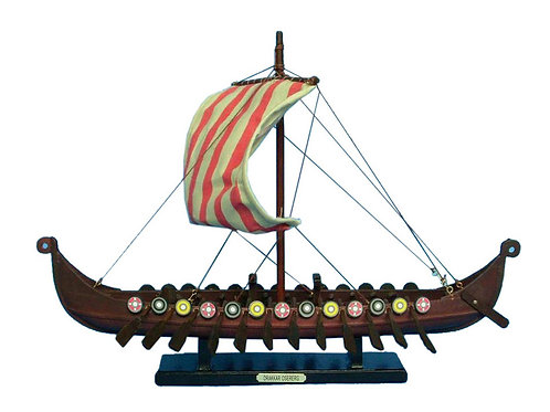 Wooden Viking Drakkar Model Boat 14""