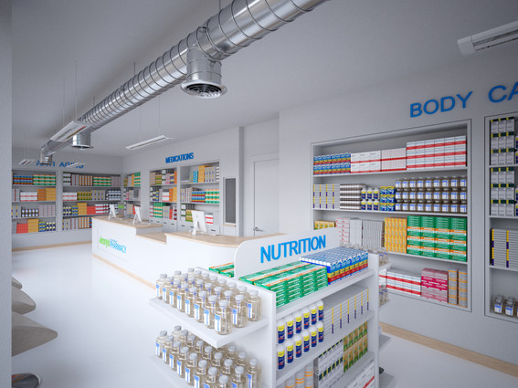 Render Pharma Main Counter