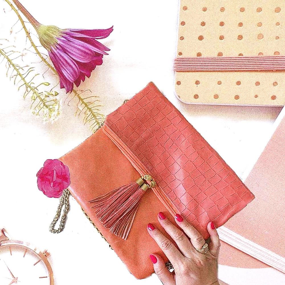 pink peach foldover clutch