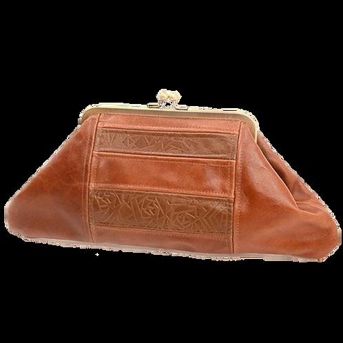 brown retro clutch