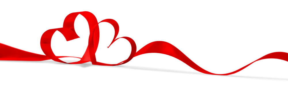Red Bow in the shape of two hearts