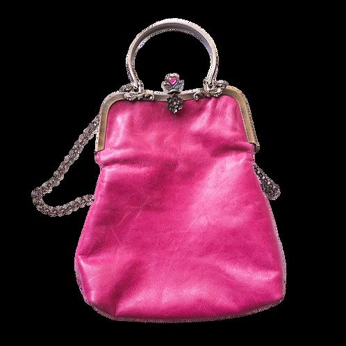 Fuchsia pink retro clutch