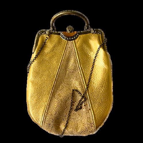 metal frame gold clutch