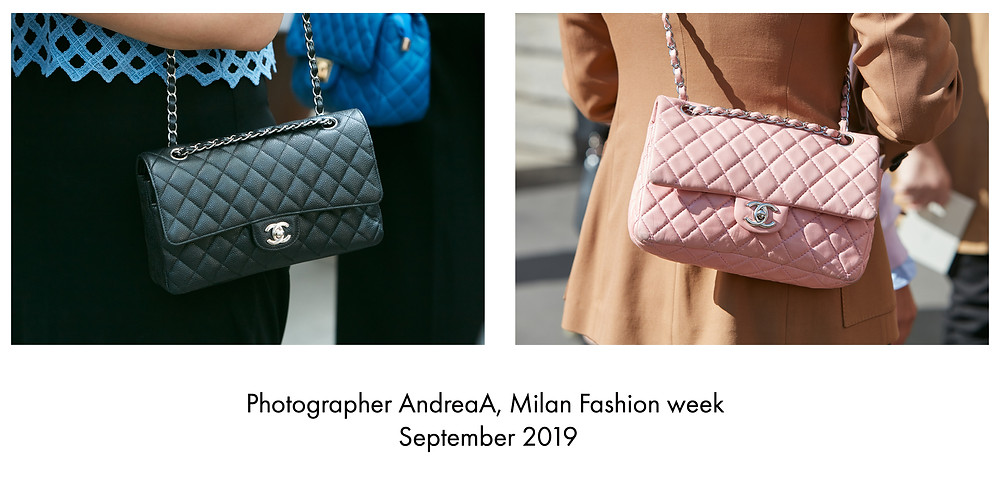 Chanel reissued 2.55 bag by Karl Lagerfeld 2019  photographed in Milan fasion week 2019 by AmandaA