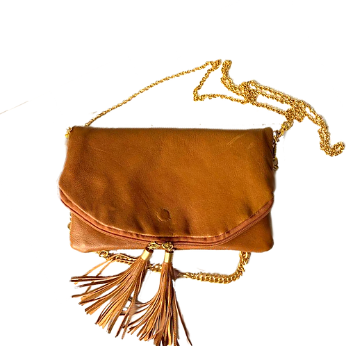 Brown Fold-Over Clutch