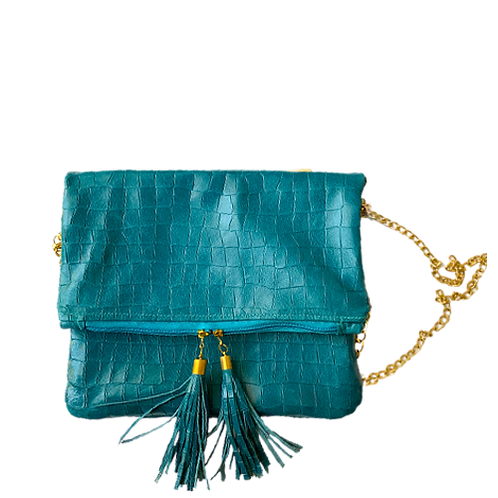 Blue Fold-Over Clutch