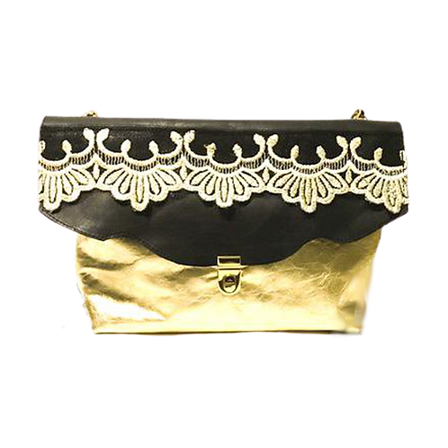Gold and black clutch