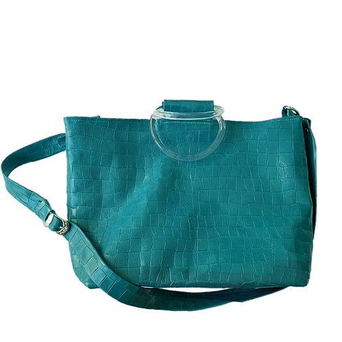 Blue-Gray Croco Embossed Tote