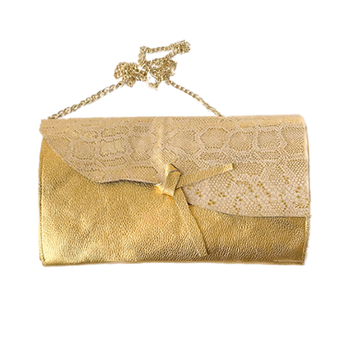Gold oversize leather clutch