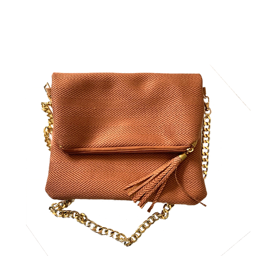fold-over brown clutch