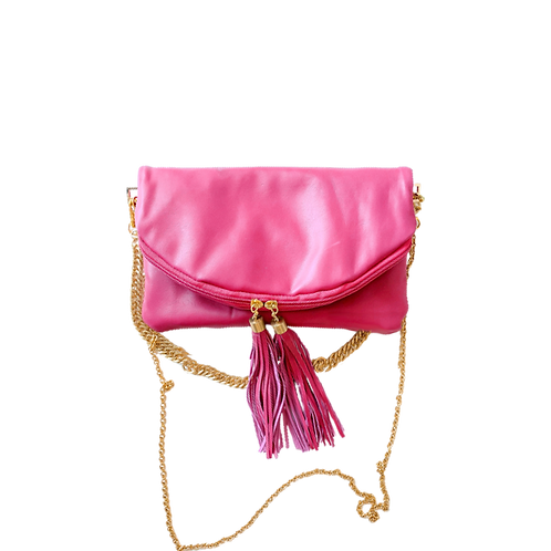 Pink fold over clutch