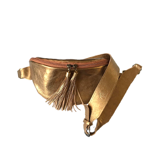 Zipper Gold Leather Pouch