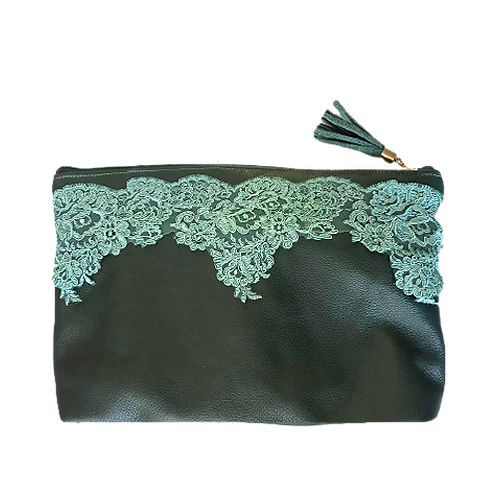 Green zipper clutch bag