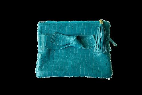 Blue gray zipper clutch