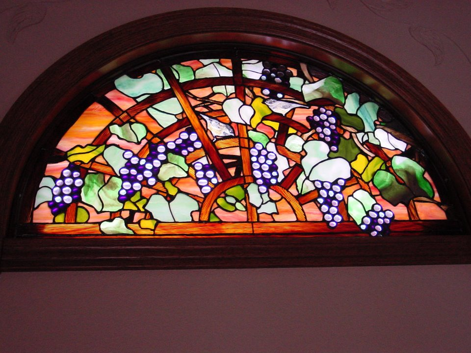 stained glass grape vine