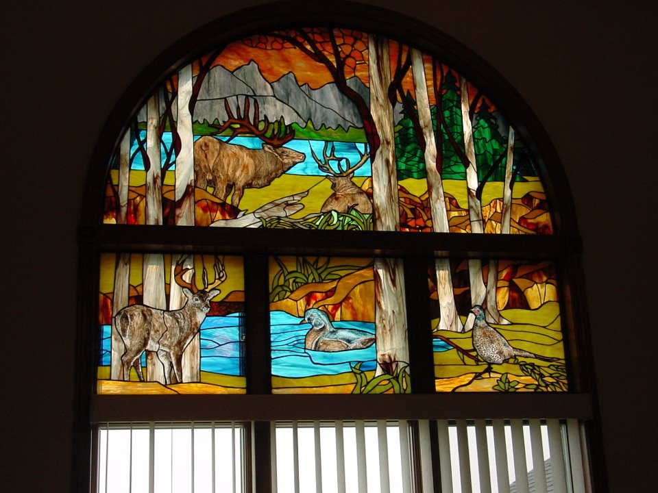 stained glass wildlife panel