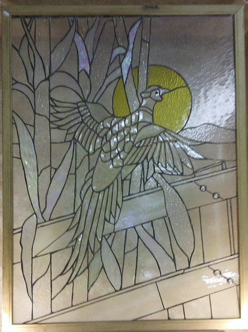 Pheasant Stained Glass Panel