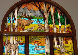 stained glass panel wildlife