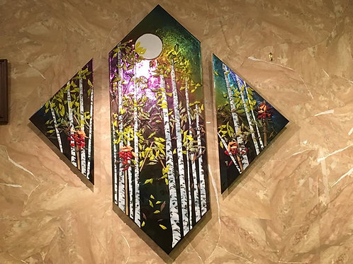 Aspens in the Moonlight, Fused Panels