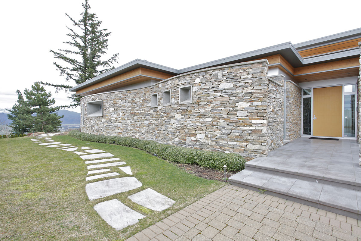 curving stone wall