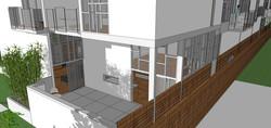 detail of end unit patio