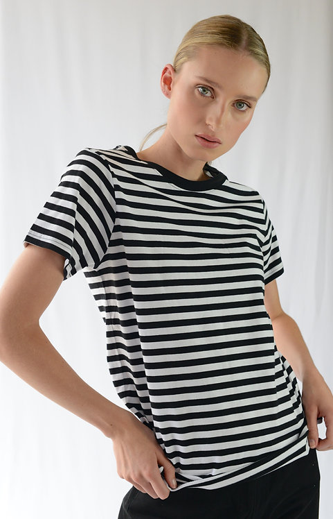 JONNY WOMENS STRIPED T-SHIRT - BLACK