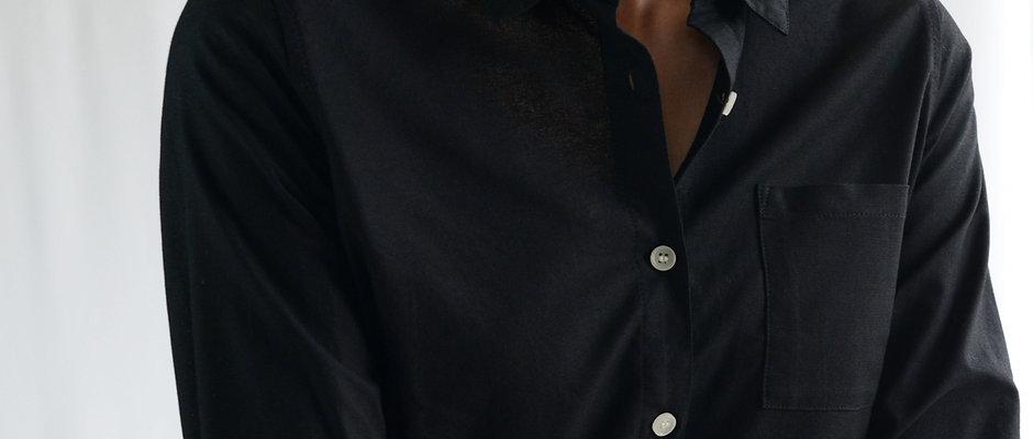OXFORD WOMENS LONG SLEEVE SHIRT - BLACK