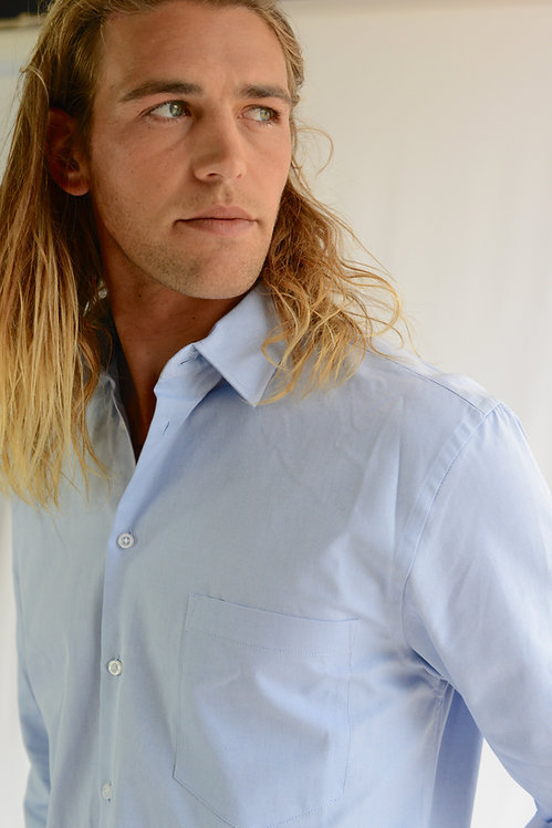 FLEMINGTON MENS LONG SLEEVE SHIRT - SKY BLUE
