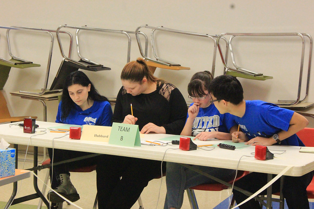 Image of Hubbard Eagle students discussing an answer at Saturday's Prep Bowl