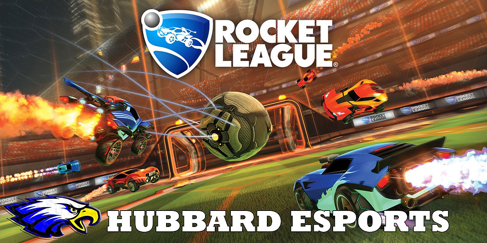 Image of Rocket League cars driving with the words: Hubbard Esports