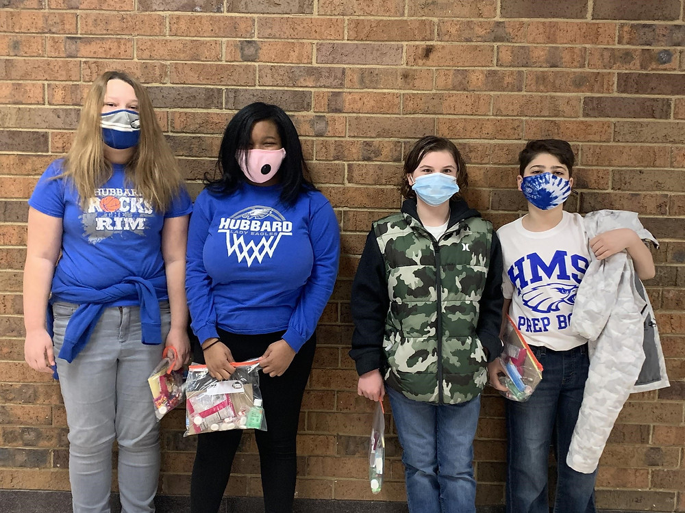 Picture are the four students who participated in the Hubbard Middle School Prep Bowl
