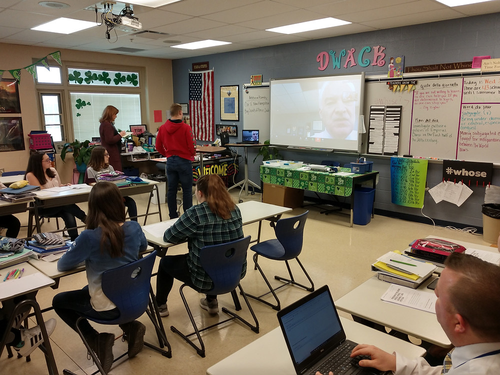 Student in Mrs. Wack video conferencing with classroom in  Randor, Pennsylvania