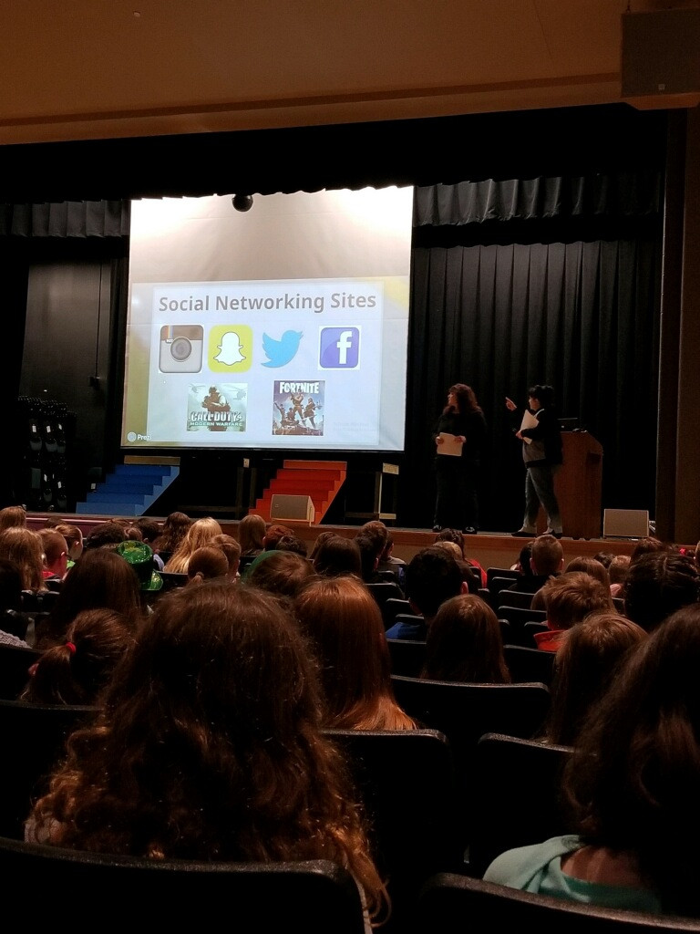 Image of cyber bullying assembly at Hubbard Auditorium