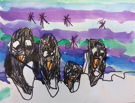Crayon and watercolor drawing of penguins.
