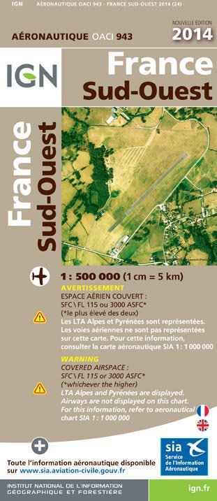 Carte IGN 1:500 000 SUD OUEST
