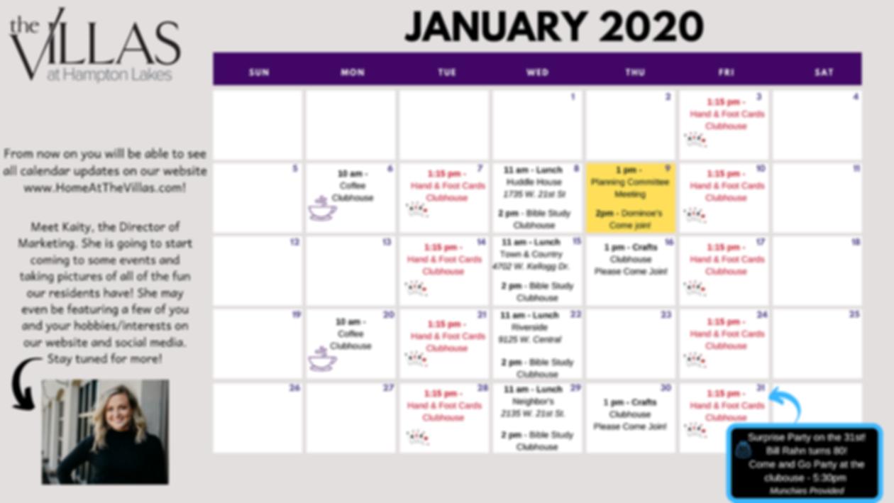 Activities Calendar Villas