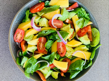 Summer Salad featuring my secret dressing & mango
