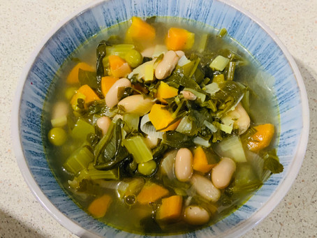 White bean, veg & lemon soup- clean eating