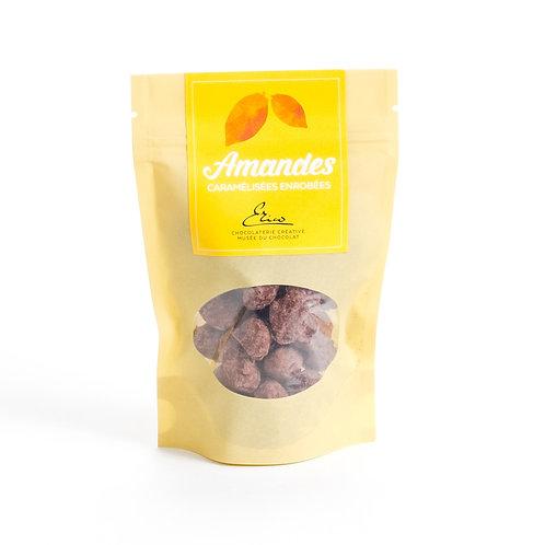 Amandes caramélisées enrobées de chocolat noir et cacao. 95g