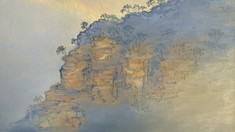 """Creating a sense of depth and distance with pastel landscapes - """"Sunset"""" WIP4-6"""