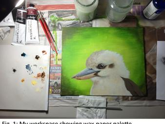 "Wax palettes, acrylic drying time - ""Kookaburra mugshot"" WIP5-7"
