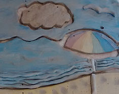 Beach scene made with clay