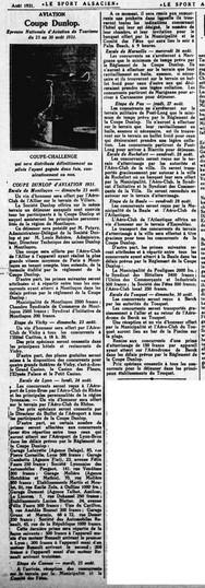 aout 1931 - Le sport Alsacien