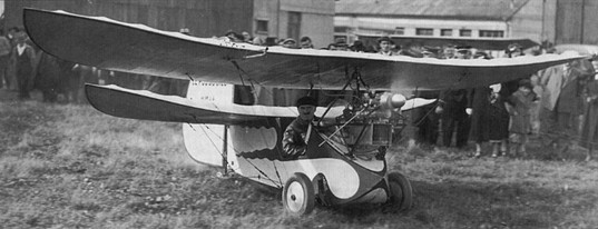 "The master himself; Henri Mignet about to fly an H.M.14 Pou-du-Ciel at Orly in October 1935. This ""Flea"" was fitted with a three-cylinder Aubier et Dunne engine, developing 28 h.p. at 3,400 r.p.m."
