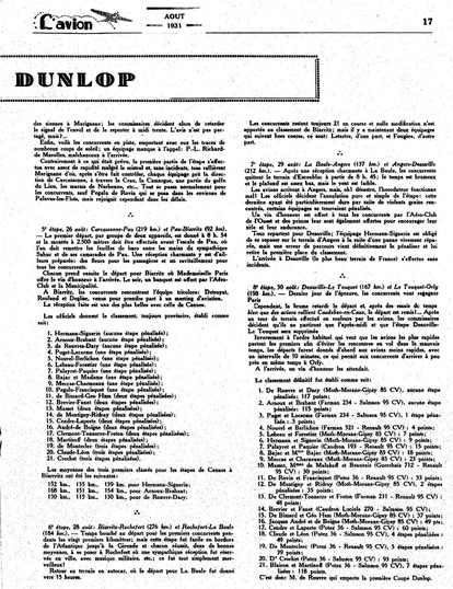 Aout 1931 - L'Avion