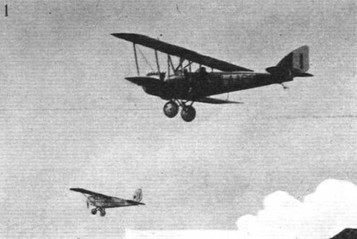 PETROL TEST AT THE ORLY MEETING: (1) Cant.26, an Italian machine with Isotta Fraschini 80 h.p. engine, and a Breda monoplane (Cirrus)