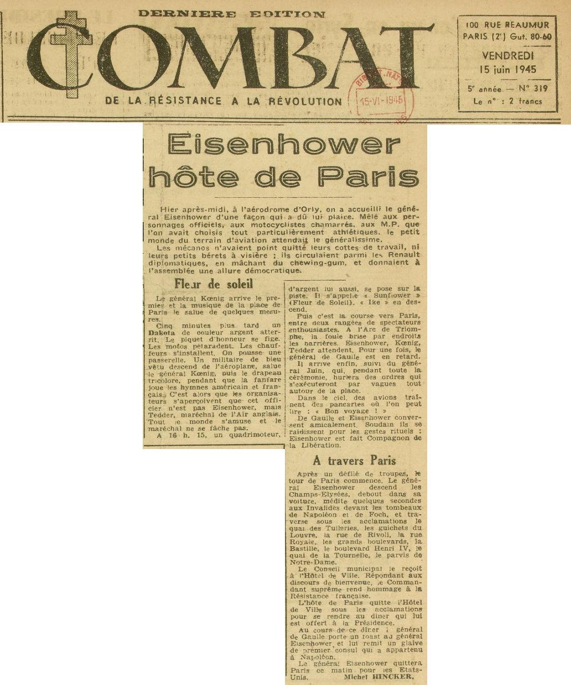 1945 - 15 juin - journal Combat